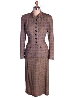 womens suits 1940s | Vintage Womens Suit Brown British Tweed Pencil Skirt 1940s Jones 38 27 ...