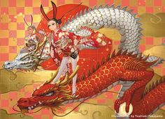 Toshiaki Takayama illustrations games anime fantasy women oriental japanese girls with rabbit ears and traditional kimonos mounted on dragons