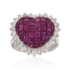 Ruby and #Diamonds Heart #Ring in 18kt White Gold.  http://jangmijewelry.com/