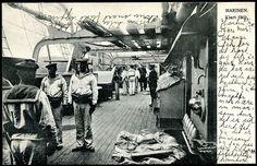 Militært motiv MARINEN, KLART SKIP. Mannskap ombord ukjent krigsfartøy. Foto Wilse 1903 datert HORTEN 1905