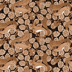 Squirrels and Nuts ~ Brown and White  fabric by peacoquettedesigns on Spoonflower - custom fabric