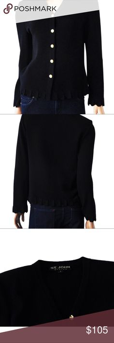 """St. John Basics Black Santana Knit Scalloped Edges St. John Basics Size: 2/Jacket/Sweater **Pre-owned, excellent condition This is a fabulous, black santana knit, jacket/sweater from St. John. Pretty scalloped edges at sleeves and hemline make this a very special piece. Gold tone SJ button closure. Approximate Measurements Taken Flat Across Jacket Shoulder to shoulder: 16"""" Underarm to Underarm: 18.5"""" Length (from the top of the neckline to the hem): 21.5"""" No Trades St. John Sweaters…"""