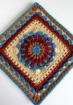 Floral Dimension Afghan Square - This pattern incorporates puff stitches, clusters and scallops for a fairly solid square.Floral Dimension Afghan Squareby Laurie Dale - This pattern is. (Mingky Tinky Tiger + the Biddle Diddle Dee)[Free Pattern] This Excep Crochet Squares Afghan, Crochet Blocks, Granny Square Crochet Pattern, Knit Or Crochet, Crochet Motif, Crochet Crafts, Crochet Stitches, Crochet Projects, Crochet Patterns