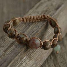 Pale shamballa bracelet. Mint colored beaded jewelry. by SinonaDesign on Etsy