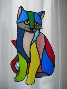 Scrap glass calico cat