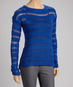 Royal Blue Sheer-Stripe Sweater - I have one in pink! :)