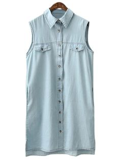 0d3b5e50fb5 Light Blue Sleeveless Fake Pockets Buttons Front Denim Dress -SheIn(abaday) Denim  Shirt