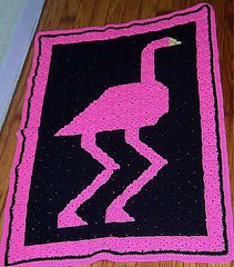 Pink Flamingo Quilt Afghan Free crochet quilt design which is made up of small granny square blocks