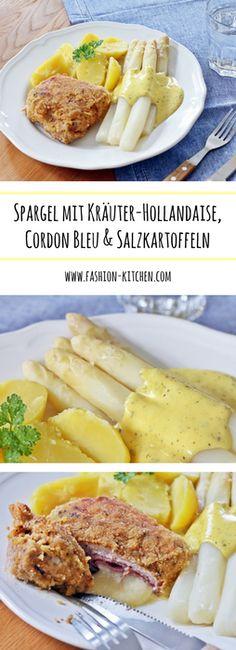 weißer Spargel mit Kräuter-Hollandaise, Cordon Bleu & Salzkartoffeln
