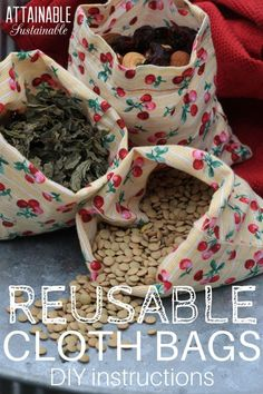 No more little plastic spice bottles in the trash! Learn to make sweet little cloth bags for purchasing bulk items in small quantities. These reusable bags are simple to make and will eliminate single-use plastic bags when buying things like spices and tea in bulk. #greenerliving #environment #sewing via @Attainable Sustainable