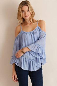 1638c2df60a This pretty top has adjustable spaghetti straps on the shoulder. Off the  shoulder are beautiful and loose bell sleeves trimmed in a generous ruffle.