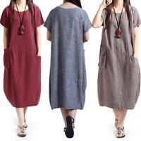 Summer Women Oversized Tunic Dress Loose Short Sleeve Casual Long Maxi Dress Hot