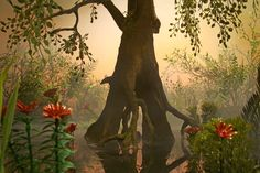 Swamp Tree --- Visitors to the Faerie realm enter by taking a boat to an oak in the middle of a lake. They pass under the roots to go through the portal.