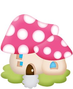 CHAMPIGN MAISON E ETC Mushroom Crafts, Mushroom Art, Cartoon Pics, Cartoon Art, Paper Bag Puppets, Shapes Images, Funny Paintings, Mushroom House, Summer Painting
