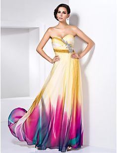 bainha / coluna namorada do assoalho-comprimento vestido de noite chiffon com detalhes de cristal - BRL R$ 653,10