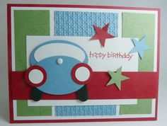 Stampin' Up!, Punch Art Car, Birthday, Masculine,