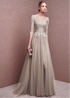 evening gown with sleeves Marvelous Tulle Bateau Neckline Half Length Sleeves Slit A-line Evening Dresses With Lace Appliques & Sash