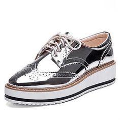New mulheres asas Oxford Lace Up plataforma listrada metálico de prata do Vintage plataforma boi plana sapatos femininos em Sapato baixo de Sapatos no AliExpress.com | Alibaba Group