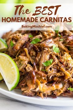 Easy Carnitas Recipe This is the BEST carnitas recipe Rich tender shredded pork with crispy crunchy edges perfect for tacos burritos or just eating by the forkful Shredded Pork Tacos, Shredded Pork Recipes, Crockpot Shredded Pork, Mexican Pork Tacos, Pulled Pork Tacos, Shredded Pork Chimichanga Recipe, Recipes With Pork, Mexican Pork Dishes, Cooked Pork Recipes