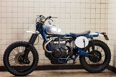 """Here's """"GSky,"""" the latest custom motorcycle from the Paris-based Blitz workshop. It's an offroader based on a 1976 BMW R75/6, and topped off with the tank from a vintage Husqvarna."""