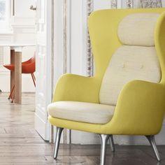 Ro - JH1, Easy chair, brushed aluminum base, Designer Selections - Fritz Hansen