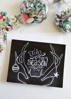 Graphic Design Ideas - Tis The Season Holiday Chalkboard Cards – Box of 8 by Lily & Val on Scoutmob S. Christmas Signs, Christmas Art, All Things Christmas, Winter Christmas, Christmas Decorations, Chalkboard Doodles, Chalkboard Lettering, Chalkboard Designs, Chalkboard Ideas