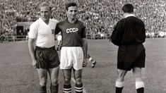 Captains Billy Wright of England & Nikita Simonyan of the Soviet Union before the 2-2 draw at the 1958 World Cup finals in Sweden