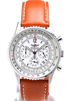 Breitling Navitimer White Dial Brown Leather Strap - Men's Watch  ,cheap Breitling watch discount