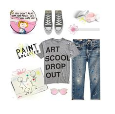 """Splatter Prints ~ Art Scool Drop Out"" by idocoffee ❤ liked on Polyvore featuring Current Mood, Olympia Le-Tan, Allstate Floral, Christian Dior, COPY, Converse, polyvoreeditorial, polyvorecontest, paintiton and shadesofspring"