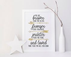 You are braver than you believe - Braver, Stronger, Smarter - Printable Poster…