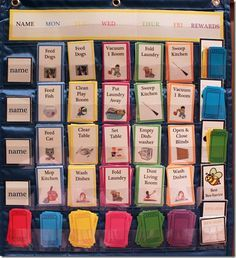 I'd like to introduce a new idea to help organize your home: the Interactive Kid's Chore Chart! I was previously using a handwritten chore chart, but I kept forgetting to pay my kids for their chores, and they would forget to write down when they completed one. I needed something more visual for everyone, and got this wonderful idea from a woman at my local homeschool mom's night this month!