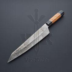 Handmade Damascus Steel Chef Kitchen Knife Olive Wood Handle VK6134