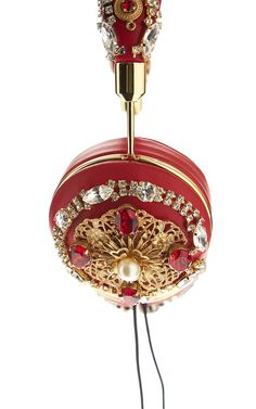 Red Embroidered Nappa Leather Headphones by Dolce & Gabbana for Preorder on Moda Operandi #dg