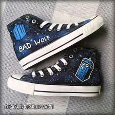 Bad Wolf Dr Who Custom Converse / DW & Tardis / Painted Shoes ($75) found on Polyvore featuring shoes, doctor who, converse footwear, lucite shoes, acrylic shoes and converse shoes