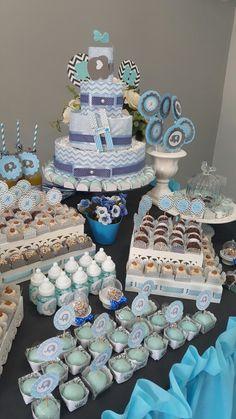 Detalhes. Chá de bebê azul e cinza. Baby shower blue and grey.
