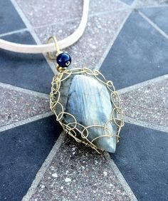 Labradorite brass wire wrapped stone pendant by creationsake on Etsy