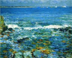 Frederick Childe Hassam Duck Island From Appledore Oil Painting Reproductions for sale Seascape Paintings, Landscape Paintings, Landscapes, Oil Paintings, Visual Elements Of Art, Duck Island, American Impressionism, Art Textile, Oil Painting Reproductions