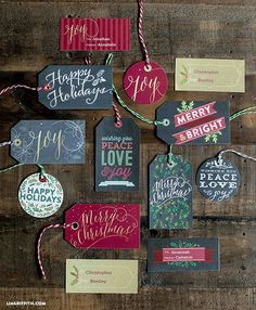 Chalkboard Christmas Gift Tags and Labels to Print, from Lia Griffith. You can edit them!