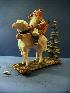 German Santa in Felt coat on a Stick leg putz sheep. Woodland Christmas, Prim Christmas, German Christmas, Old Fashioned Christmas, Christmas Past, Victorian Christmas, Father Christmas, Country Christmas, Christmas Holidays