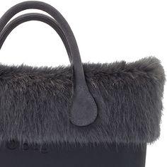 Grey Faux Fur Trim on Black O bag mini, short leather handles