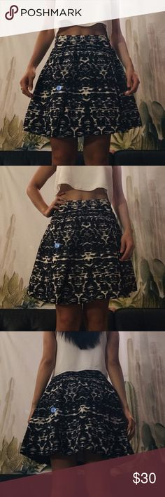 """J.Crew A-line Ikat Skirt Double layered with a lining inside and a zipper in the back for closure. It fits like a 0. For reference I'm 5'4"""" and it falls right above my knees. Worn once, no tags, in pristine condition. It's comfortable and lightweight. It also has an extra oomph with the perfect amount of poof to achieve the a-line look. Perfect for spring and for pairing up with tanks or blouses. J. Crew Skirts A-Line or Full"""
