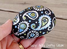 Hand painted Stone paisley silver, green and blue metallic