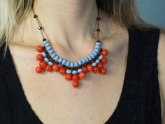 Coral Gray Fringe Necklace  Coral Brown by LittleGemsByLuisa