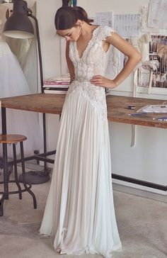 2017, Sheath, Chiffon, Lace and Best Wedding Dress M-2304