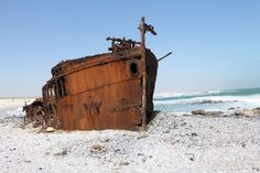 Wreck of the BORDER, near Kleinsee, Namaqualand, South Africa Abandoned Cars, Abandoned Places, Sa Tourism, Float Your Boat, Shipwreck, Water Crafts, Cape Town, Live, Continents