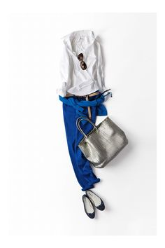 Cobalt pants, white shirt, silver. Winters wavelengths