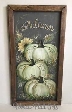 Items similar to White pumpking beautiful fall, farmhouse style decor on Etsy - At inches this beautiful art on screen with a recycled frame, offers you something extremely - Autumn Painting, Autumn Art, Pumpkin Painting, Tole Painting, Fall Canvas, Original Design, Farmhouse Style Decorating, Farmhouse Decor, Pumpkin Art