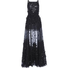 Elie Saab Embroidered Tulle A-Line Gown ($16,925) ❤ liked on Polyvore featuring dresses, gowns, embroidered dress, elie saab dresses, tulle evening gown, tulle gown and beaded dress