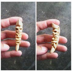 Devil and skull pendant