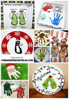 Ideas for decorating decorative Christmas Plates using handprint & footprints! Preschool Christmas, Toddler Christmas, Christmas Crafts For Kids, Christmas Activities, Baby Crafts, Preschool Crafts, Handmade Christmas, Holiday Crafts, Christmas Ideas
